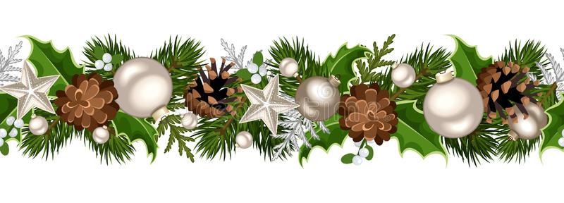 vertakt-de-kerstmis-naadloze-slinger-zich-met-spar-zilveren-ballen-hulstbladeren-kegels-en-maretak-vector-illustratie-81496222
